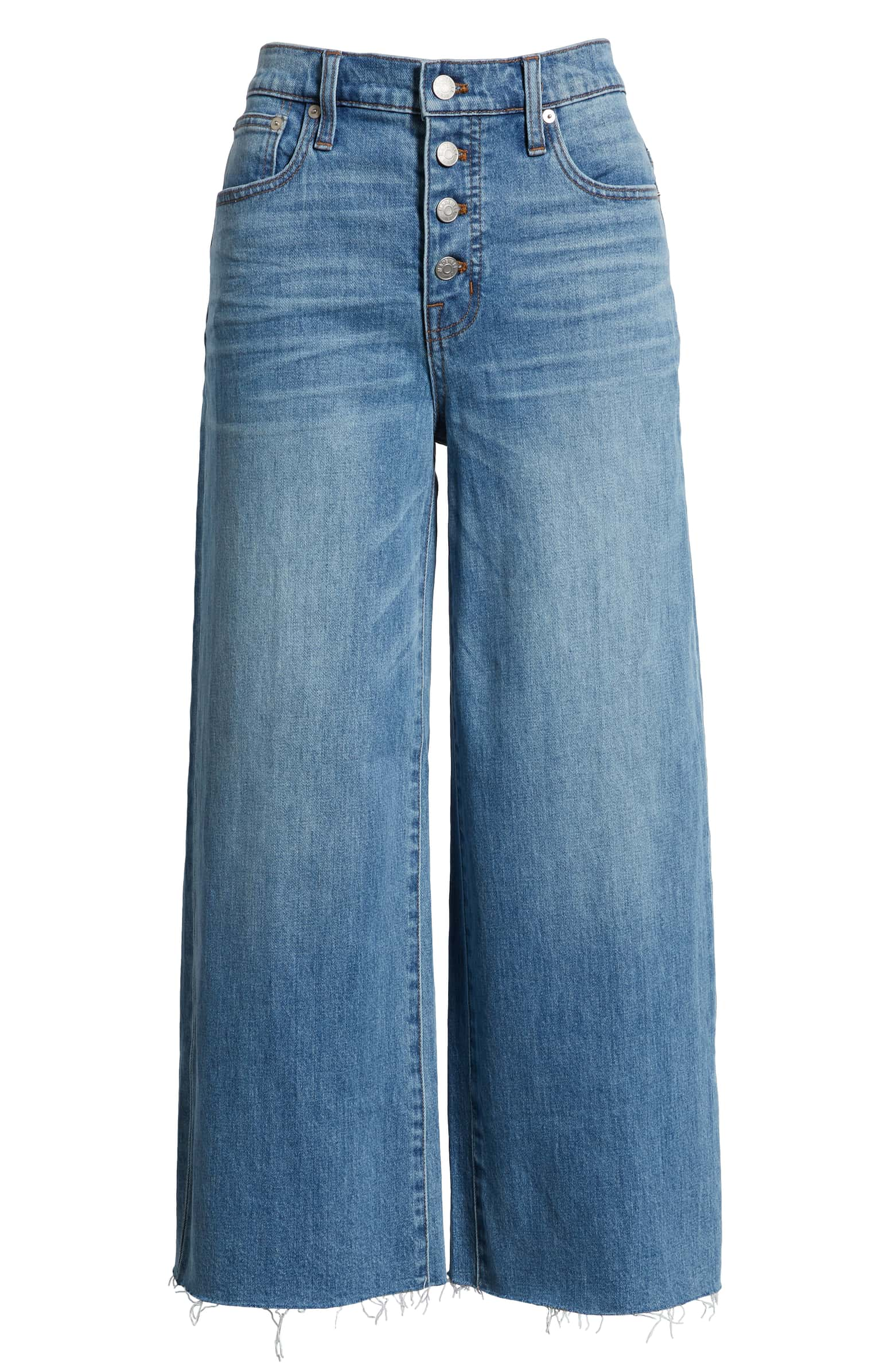 Button Front Wide Leg Crop Jeans,  MADEWELL. $89.99