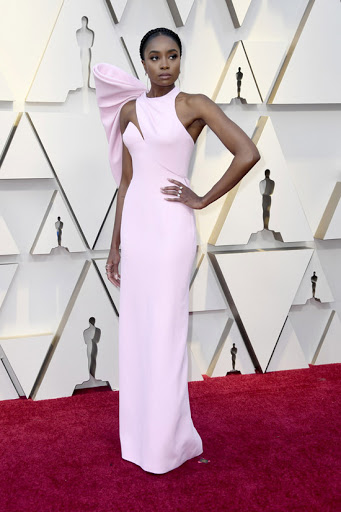 If Beale Street Could Talk actress, Kiki Layne in a custom Atelier Versace column gown paired with Swarovski jewelry.