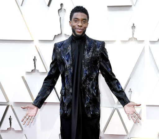 Black Panther star, Chadwick Boseman in a sequined blazer by Givenchy Haute Couture.