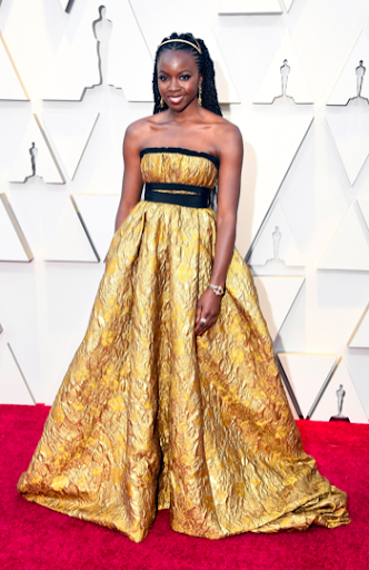 Golden goddess, Danai Gurira in Brock Collection and Fred Leighton jewelry.