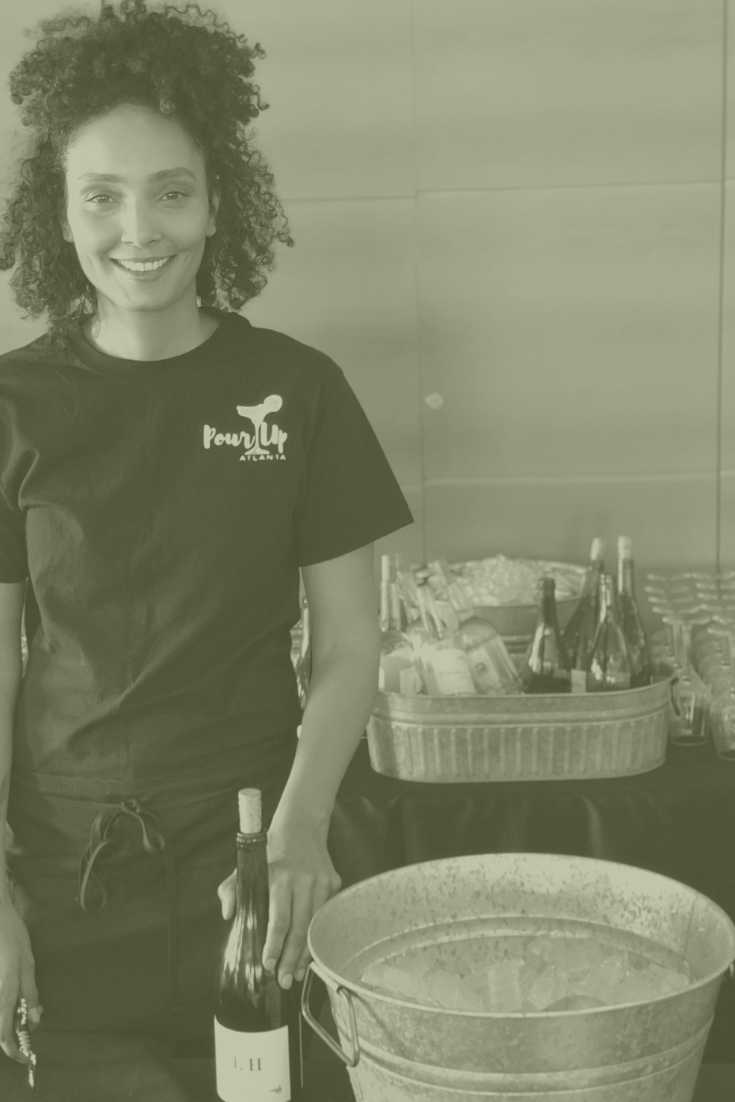 Pour Up Bartender with Staff T-Shirt and Apron