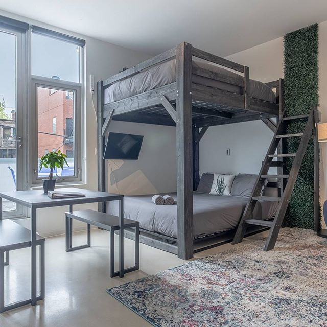 Our side ladder #loftbeds in 12 new #chicago Airbnb's.  #loft #loftbedroom  #loftbed.  Get on our waiting list for September shipping by ordering at www.chicagoloftbed.com