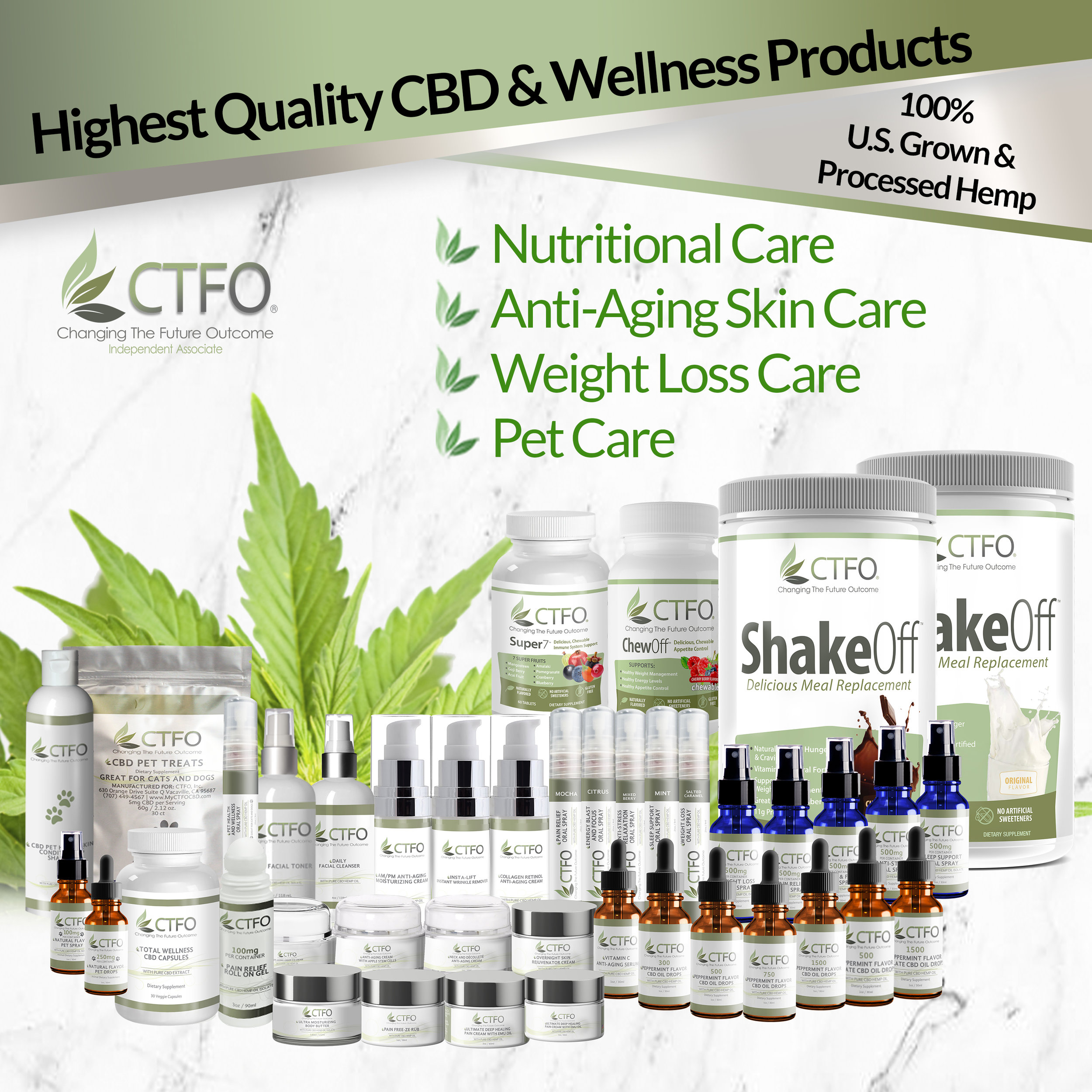 Wellness Elevation (WE) CBD is now Partnered with CTFO - CTFO is committed to having the highest quality, lowest priced products on the market. And just as importantly, we vow to always provide the fairest, most lucrative, most unique and powerful business opportunity ever created.We invite you to become fully familiarized with all aspects of our amazing product line and our totally unique business because there are no Gimmicks or Gotchas here. We know, the deeper you dig, the better CTFO gets.