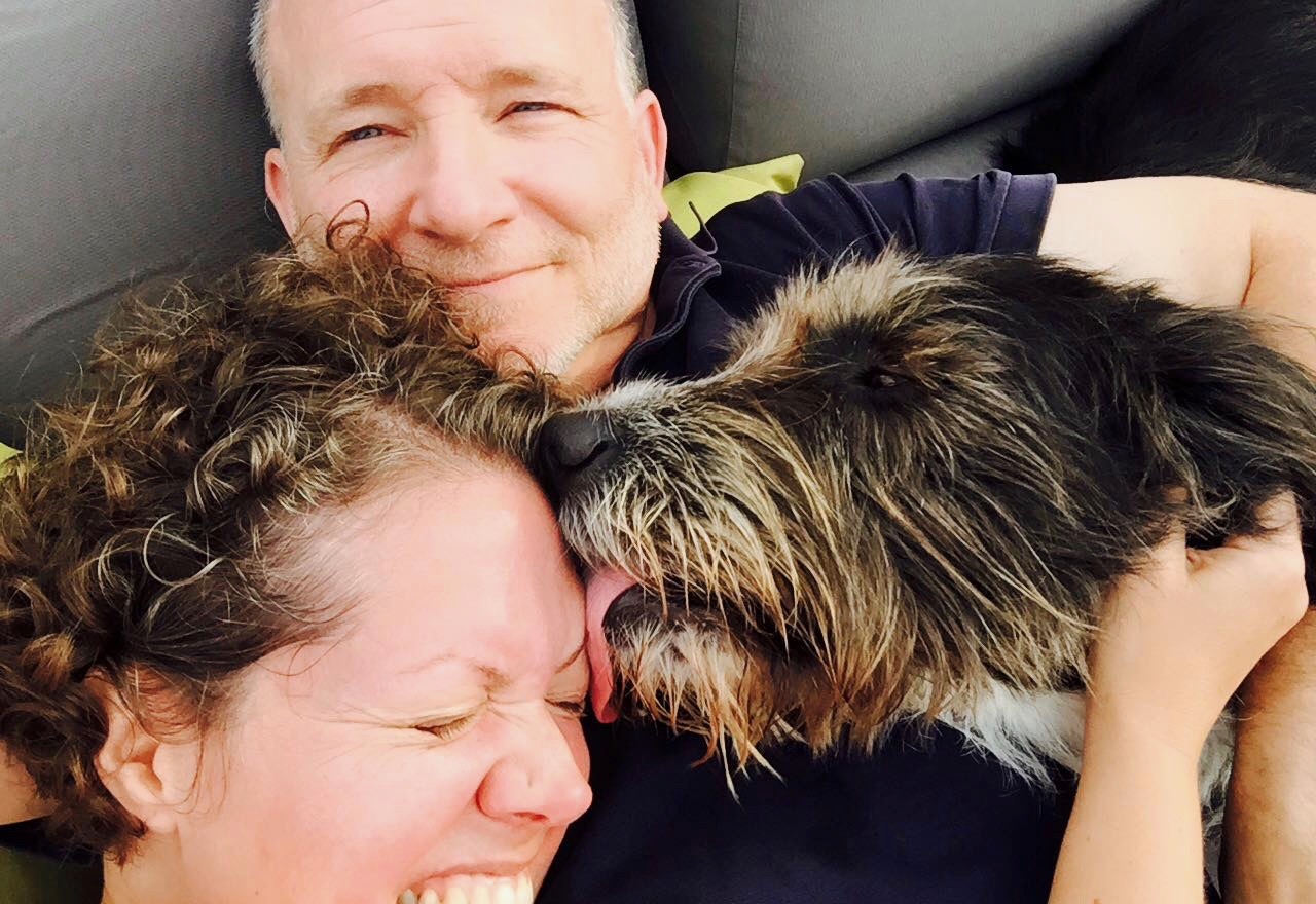 My wife Julie, our dog Molly and me.