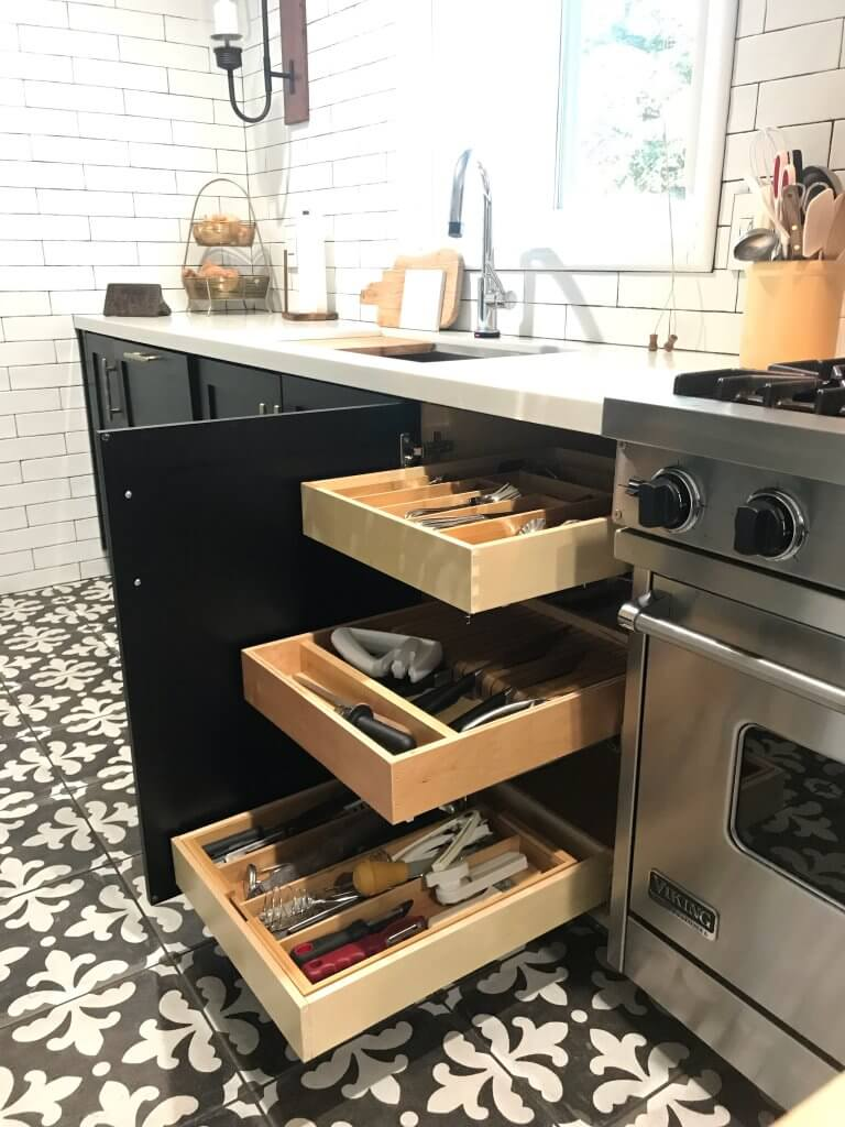 How to Avoid Losing Storage Space with Open Shelves-kathleen-jennison-stockton-interior-designer-roll-out-drawers
