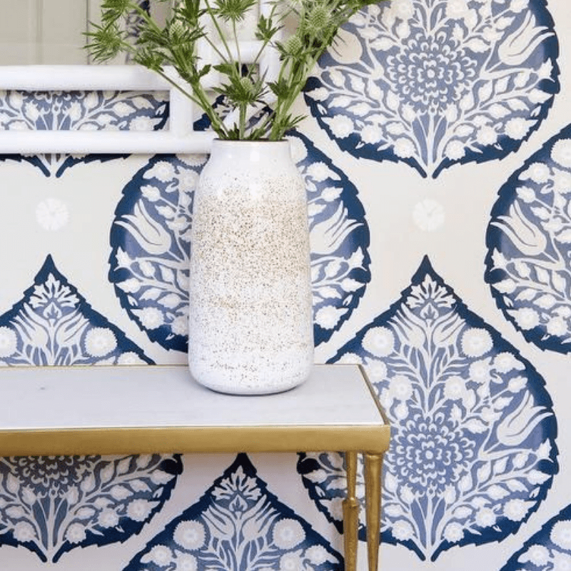 add wallpaper to your foyer like this Galbrath & Paul Lotus Wallpaper