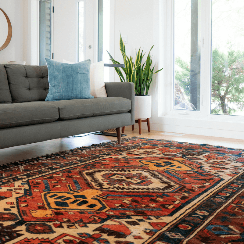 Many designers start their design from the floor up. By starting with the area rug, you can pull colors for paint, furniture, and accessories, making the whole room feel pulled together
