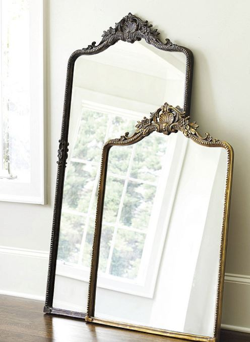 """Beaudry Mirror   Old world glamour is reflected in every detail of our Beaudry Mirror. Perfect for an entry or above a vanity. Surrounded in a beaded frame of hand-forged iron with flowing corner scrolls and elegant shell crest.  Dimensions: 45x32: 45"""" X 31 1/4"""" X 1 1/2""""D 64x31: 64"""" X 31 1/4"""" X 1 1/2""""D Construction: Made of iron and mirror.   Buy Now"""
