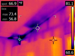 With Infrared Thermography we can pinpoint exactly where your home is losing energy. This home had some poorly installed insulation in the attic among other places
