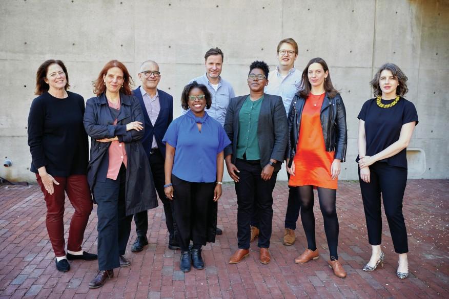 Courtesy Harvard GSD. Class of 2020 of Harvard GSD's Loeb Fellowship program. Left to right: Elizabeth Kay Miller, Eleni Myrivili, Pedro Gadanho, Michelle Joan Wilkinson, Wolfgang Rieder, De Nichols, Andrew Salzberg, Paloma Strelitz, and Deborah Helaine Morris.