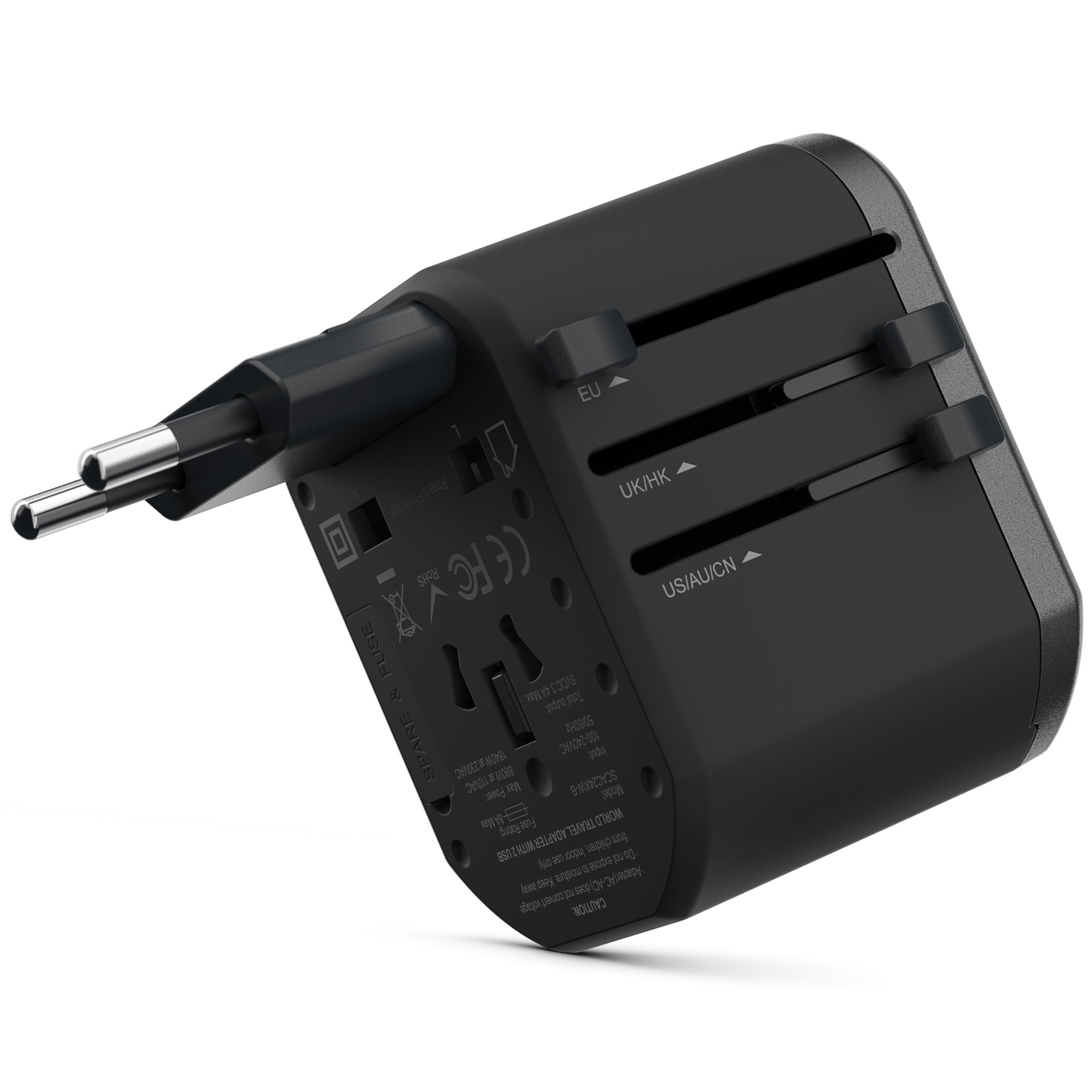 Universal Travel Adapter Dual Port USB-A, Black