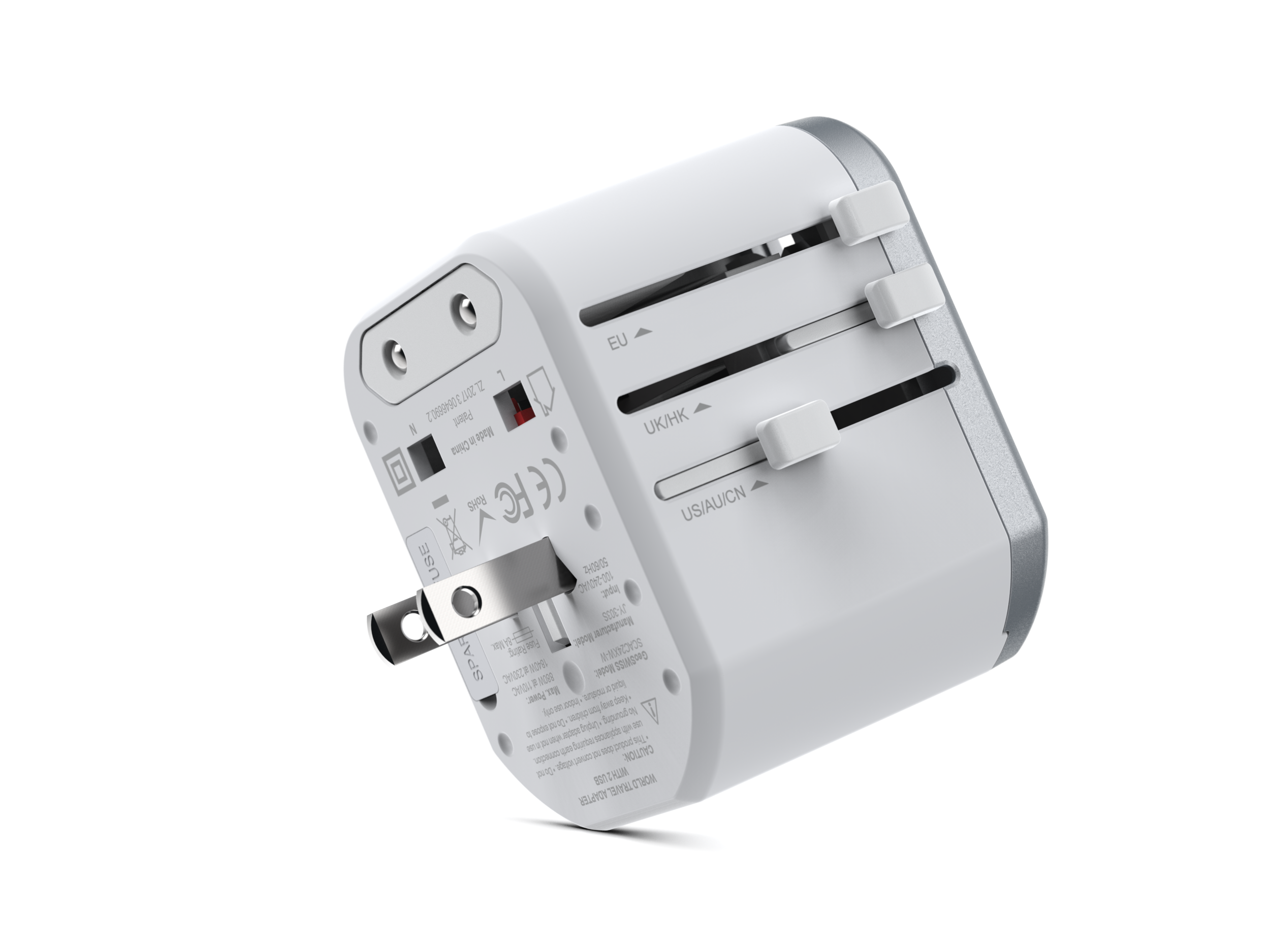 Universal Travel Adapter Dual Port USB-A,  White