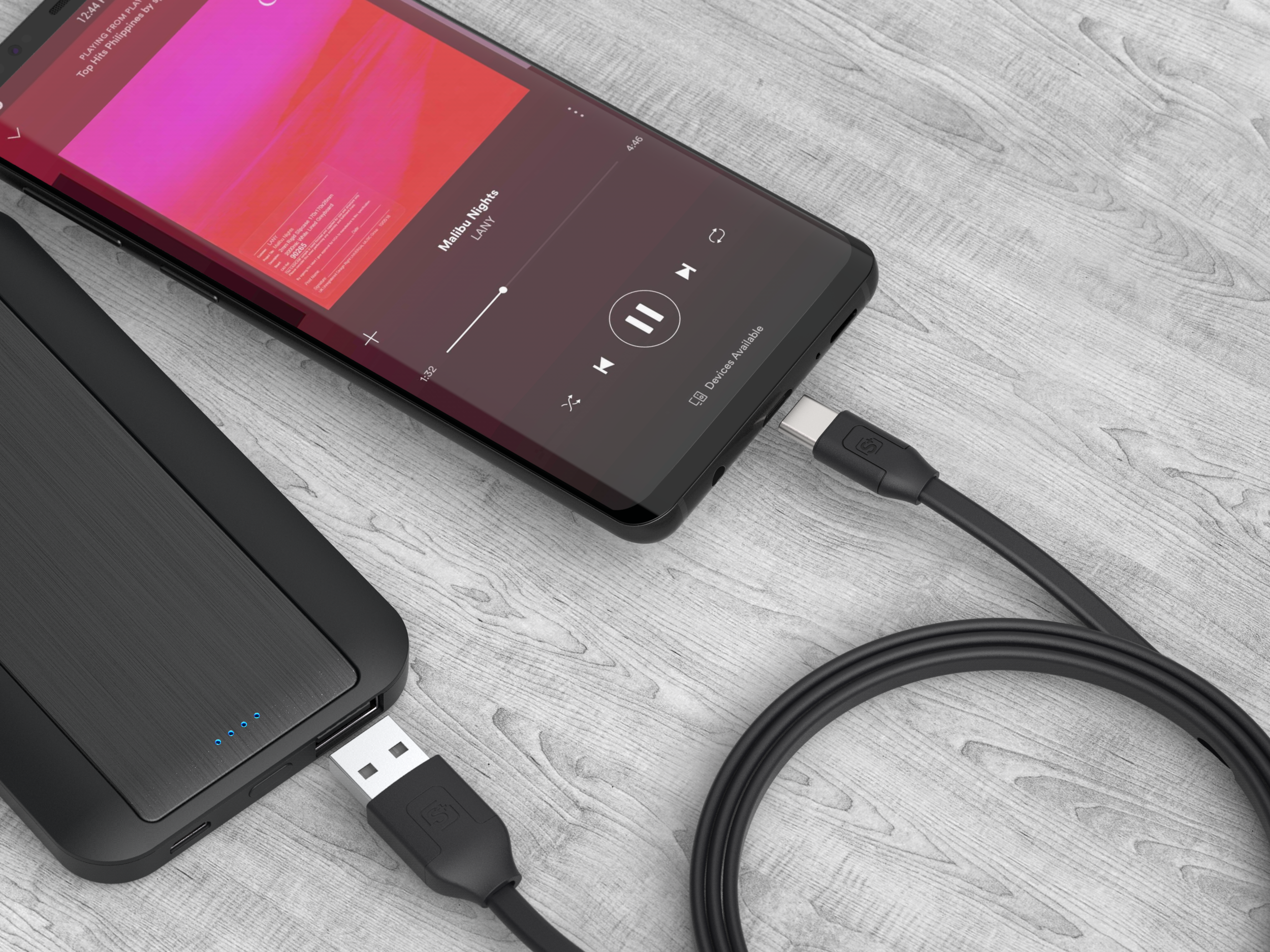 1.2m Tangle-Free Sync/Charge Cable USB-C to USB-A