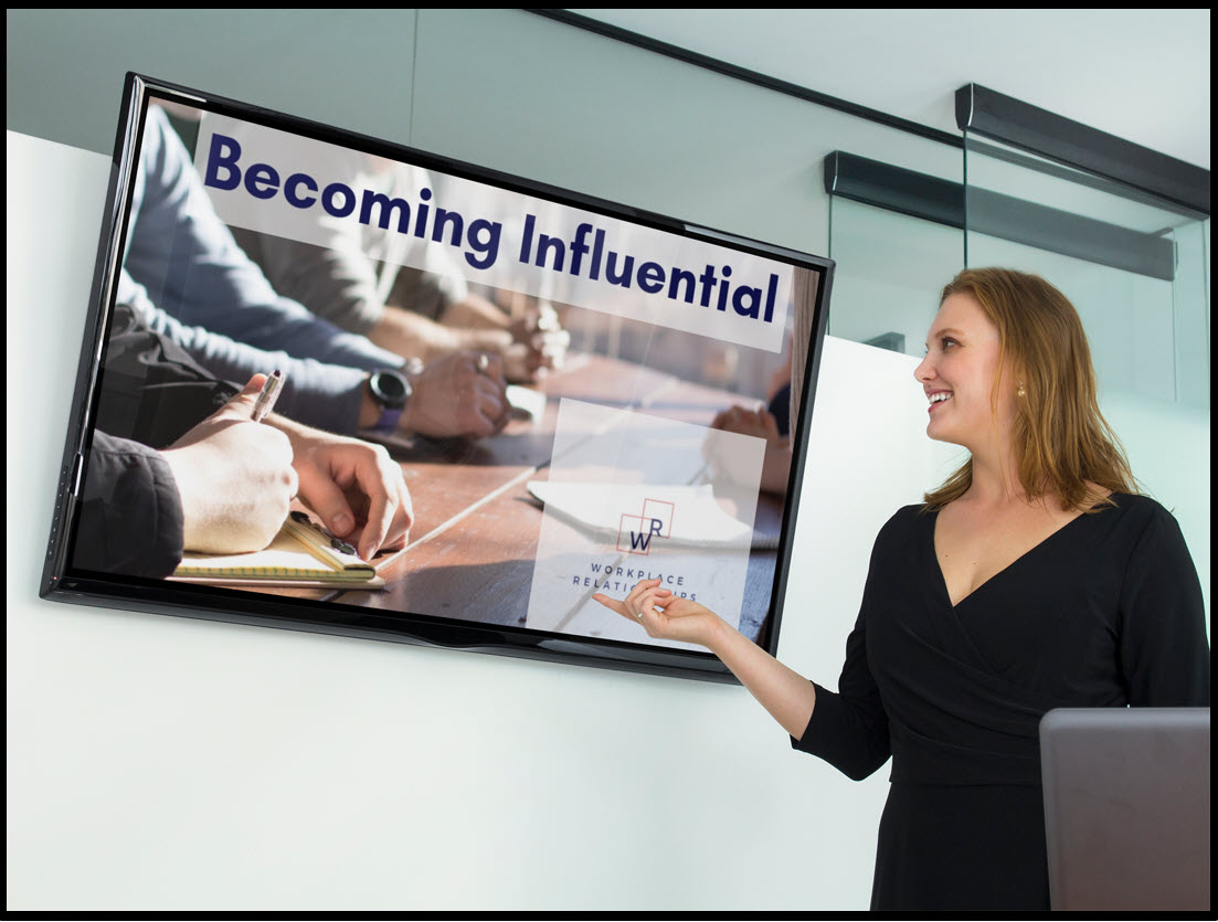 Woman getting more influence in the workplace to get promotion. Lead teams, get people to listen to you. Develop leadership through this webinar.