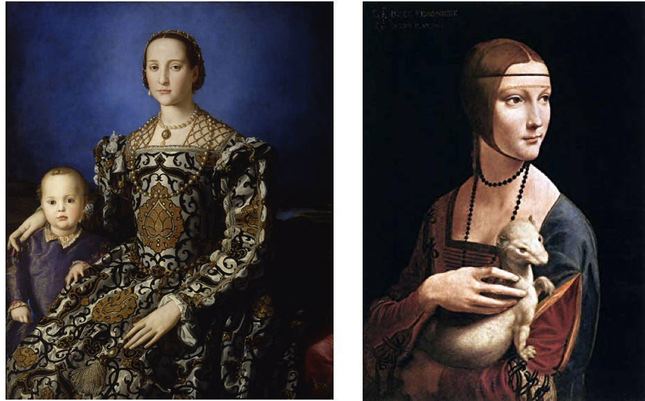 Bronzino, Portrait of Eleanor of Toledo. 1545 & Leonardo da Vinci, Lady with an Ermine, 1489-90
