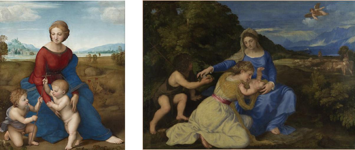 Raphael, Madonna del Cardellino, 1505-06 & Titian, The Aldobrandini Madonna, 1532