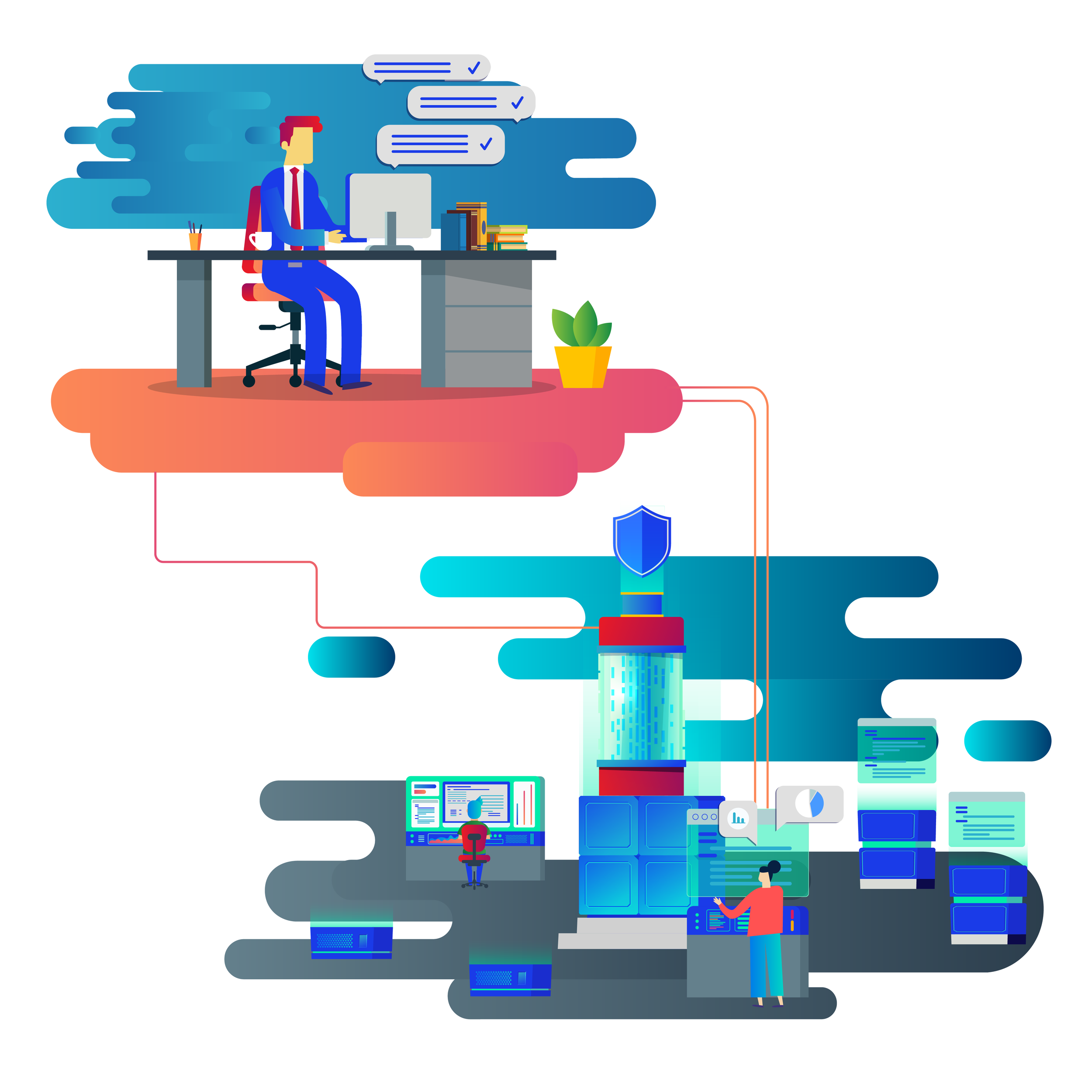 Stabil og sikker drift av IT og infrastruktur - DX har erfaring og kompetanse fra drift av egne løsninger, samt 15 års driftserfaring for andre kunder. Det bruker vi til å hjelpe dere med en stabil infrastruktur og effektiv arbeidshverdag.