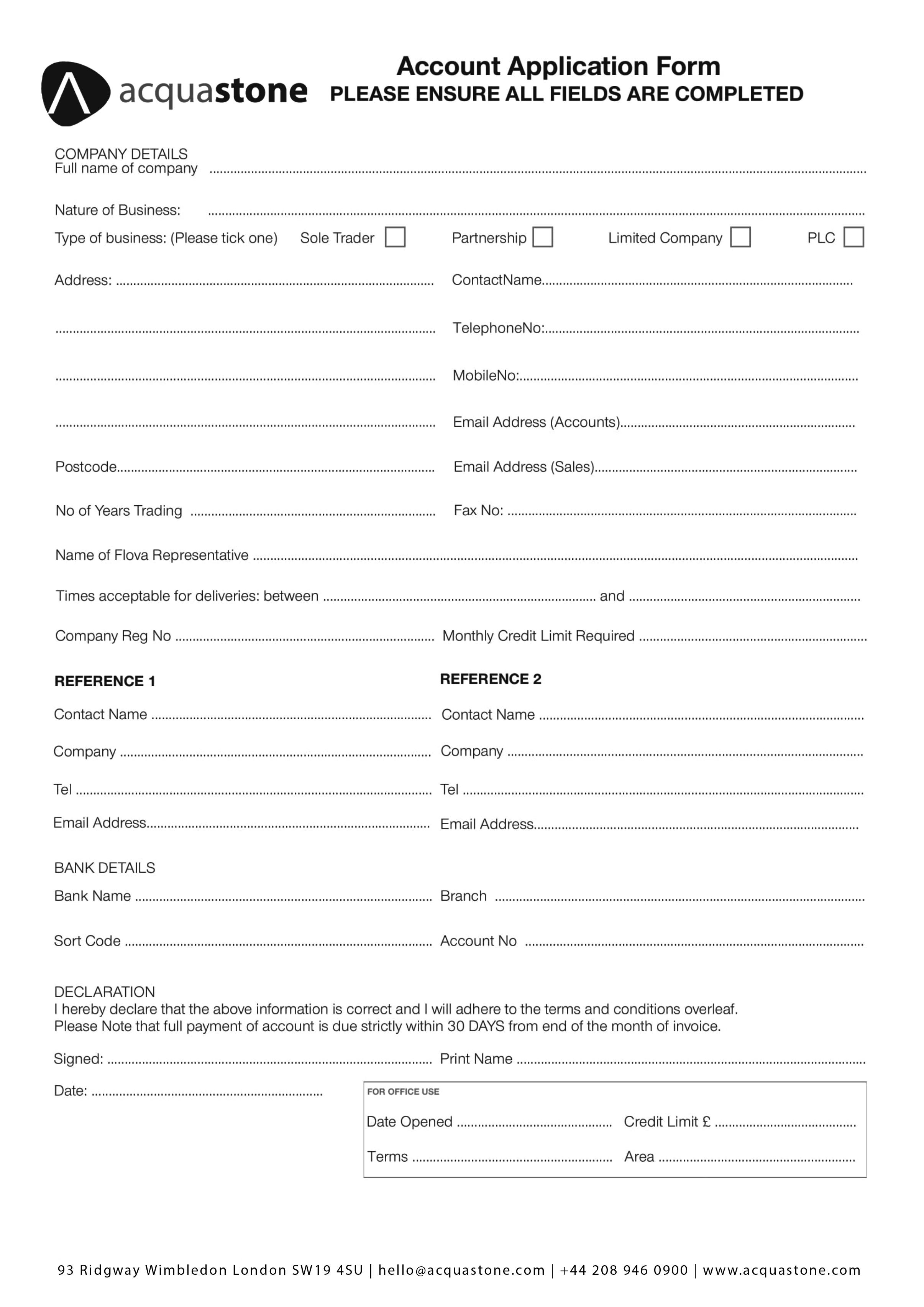 Trade Account Application - By Acquastone