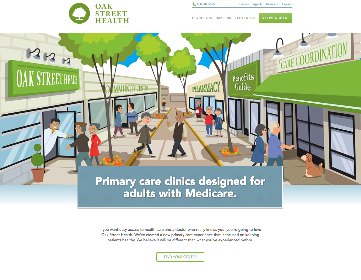 Previous Oak Street Health website. They wanted a more professional and streamlined experience to attract new patients and employees.
