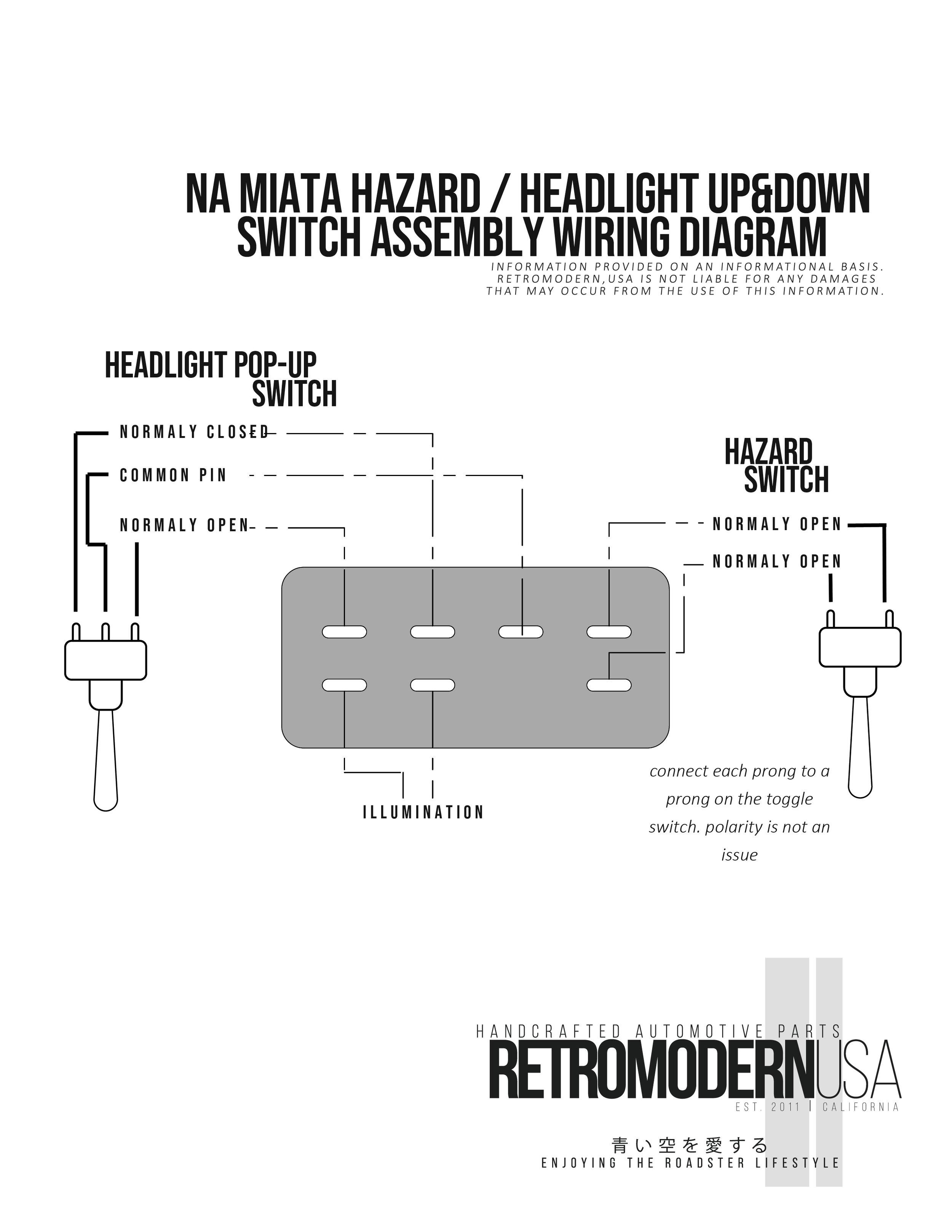mazda mx5 headlight wiring diagram na pop up   hazard toggle switch assembly wiring diagram  toggle switch assembly wiring diagram