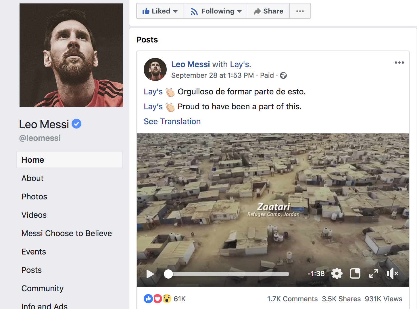 Collaborating with Living Legends - Worked with 5 time Ballon D'or winner Leo Messi, in supporting and encouraging young girls in the Za'atari Refugee Camp to continue playing football.