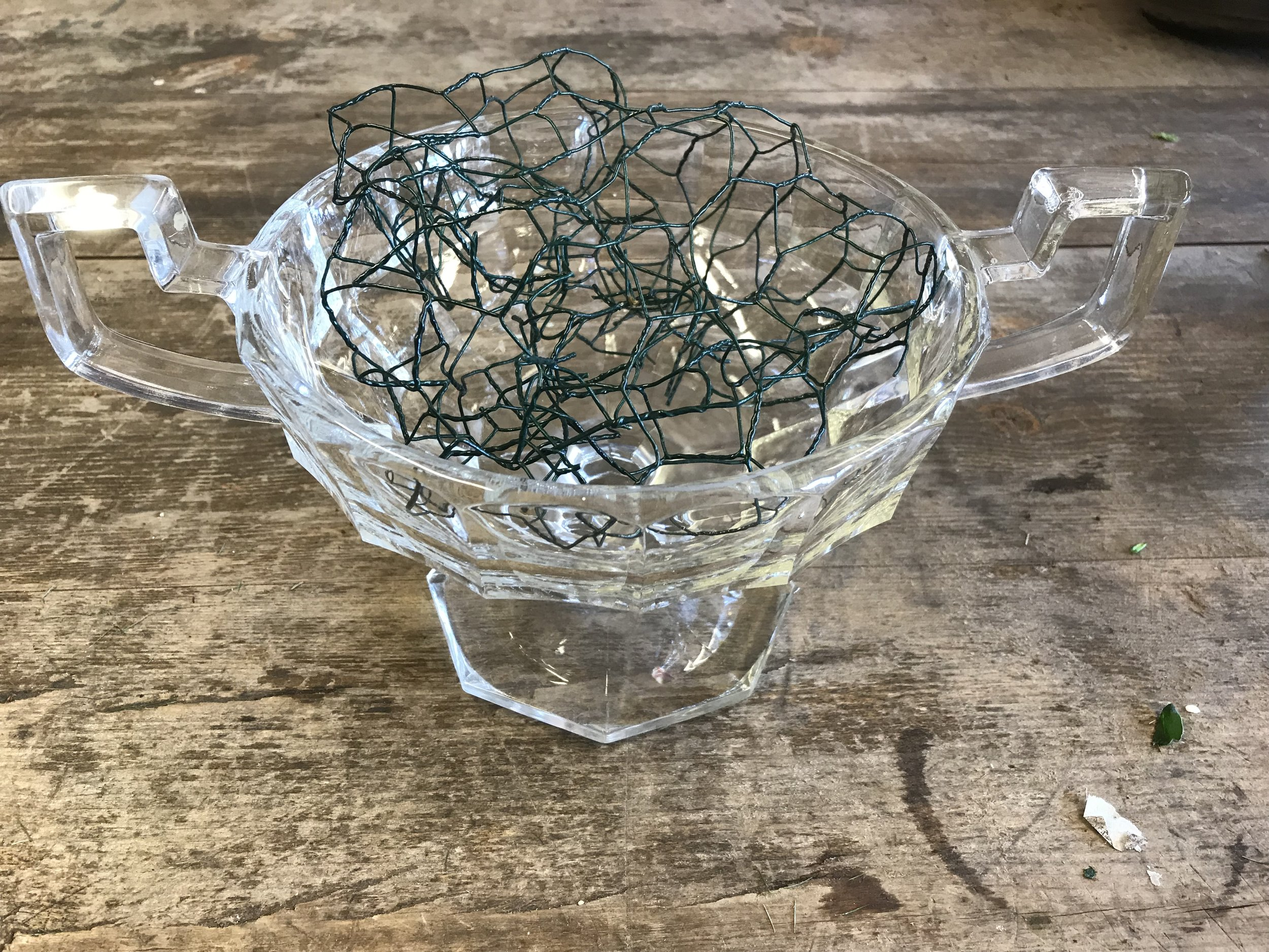 My container with scrunched up chicken wire