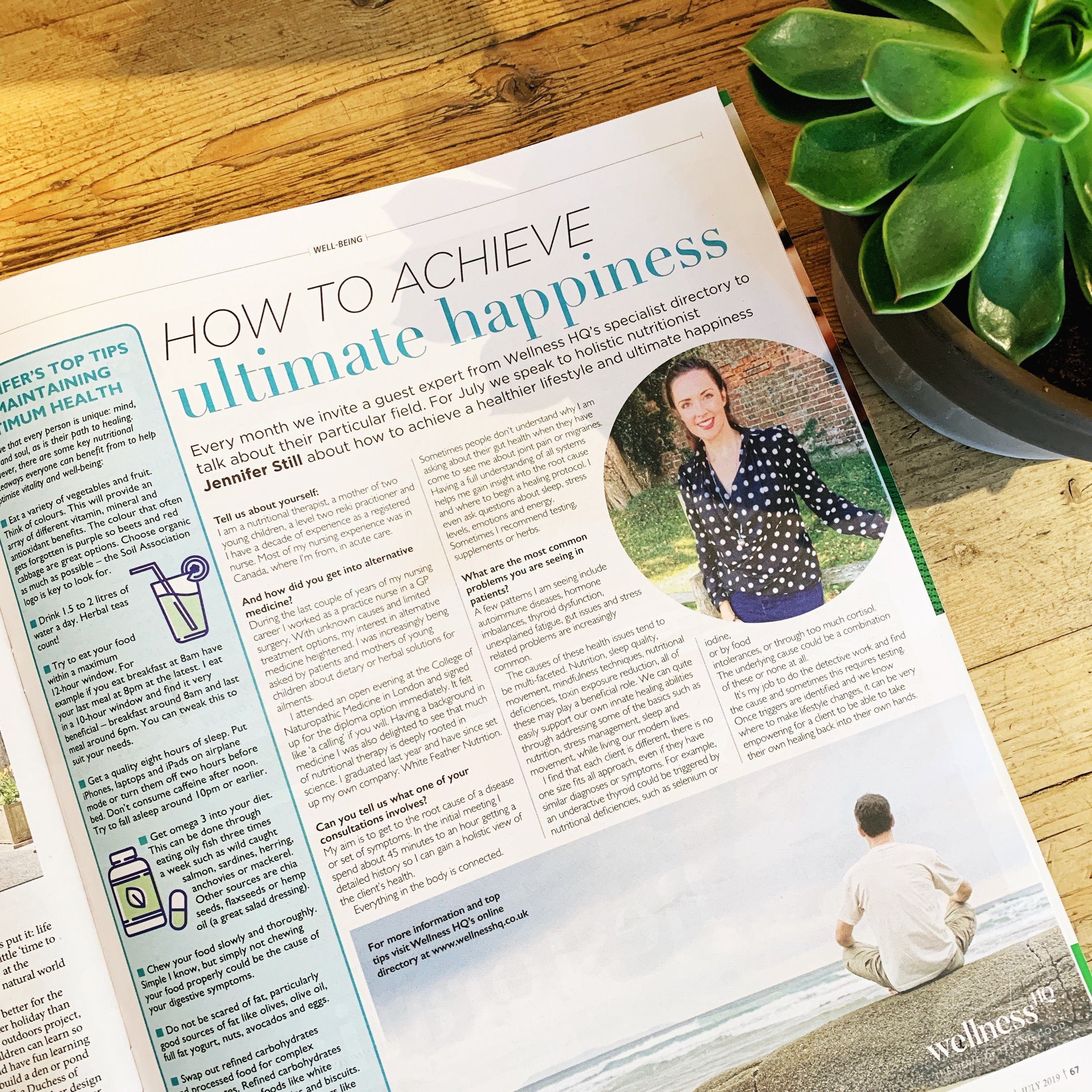 WELLNESS HQ IN SO MAGAZINE - This month we feature Jennifer Still, of White Feather Nutrition