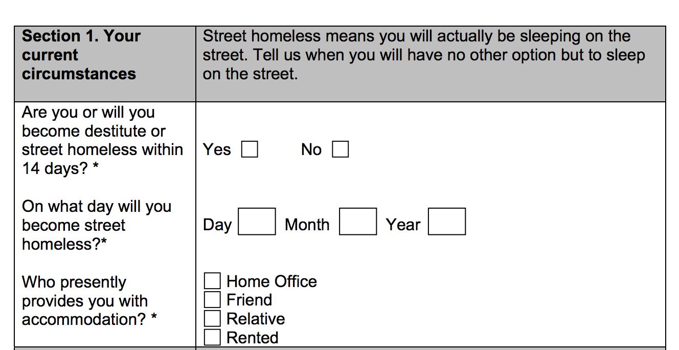 Destitution Question