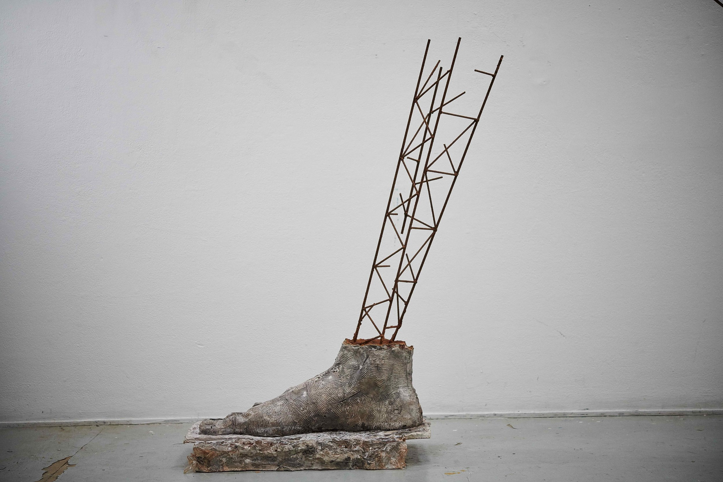 Big Step with Scaffolding , 2018. Concrete, steel, rust, sand.