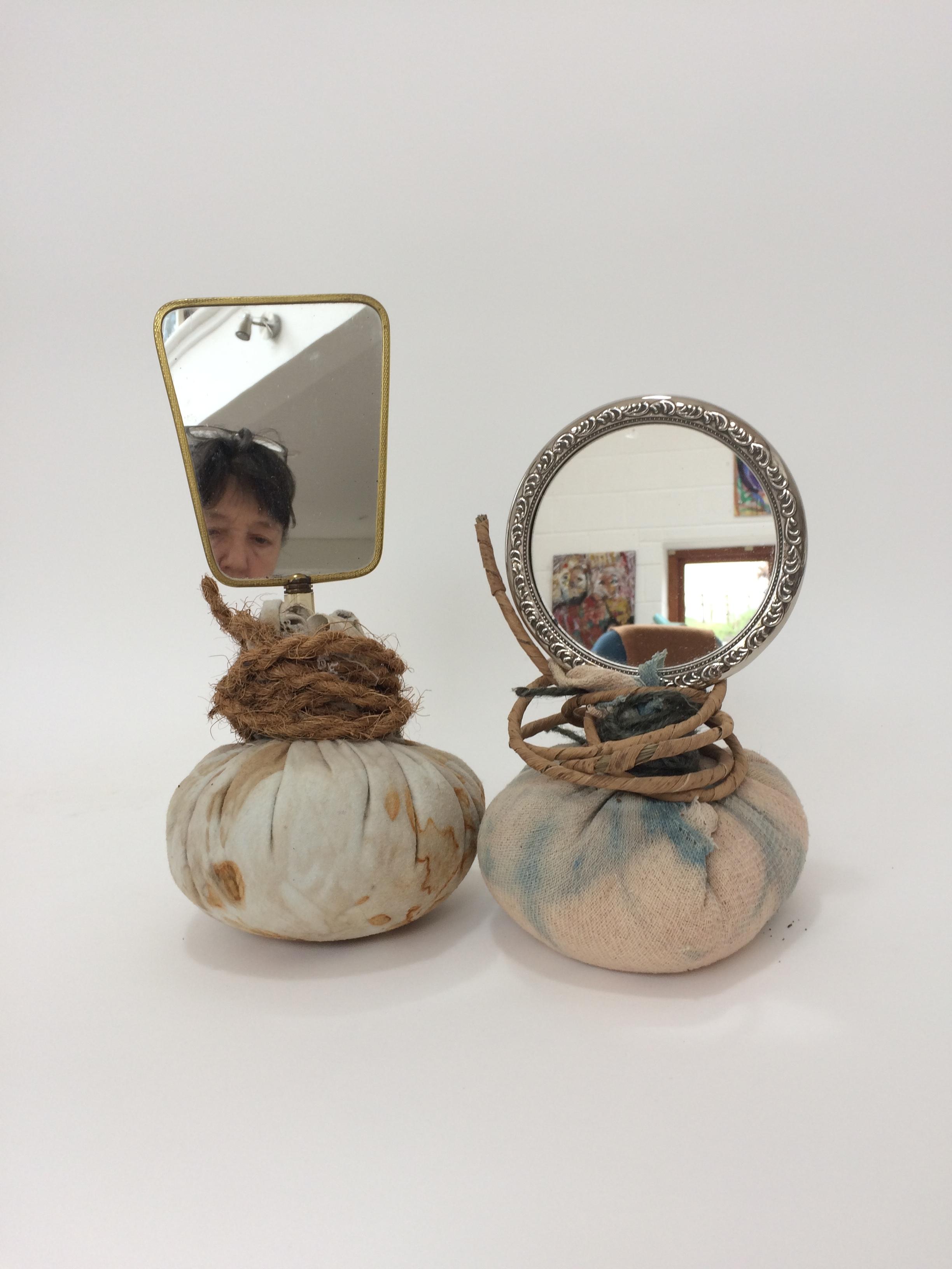 Selfie, 2018 hand mirrors, eco-printed cloth, rope, twine, rice h32cm