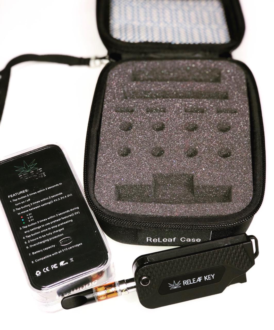 NEW Releaf Case + Releaf Key Bundle - The Releaf Case fits up to 8 reg carts + 4 pods + 3 batteries. Get your discounted offer below: