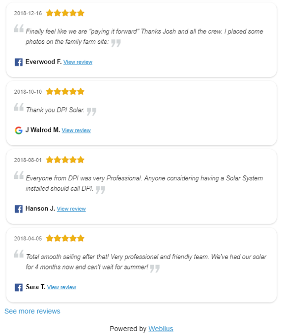 Example customer reviews for  DPI Solar .
