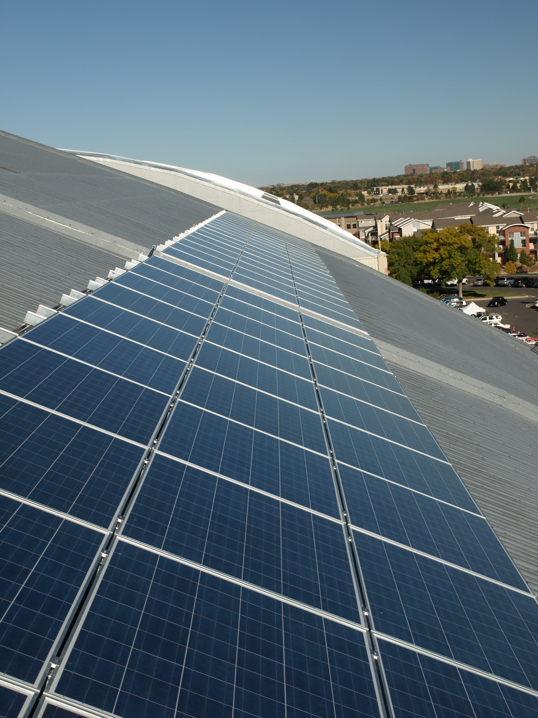 Solar panels on roof of Hangar 2