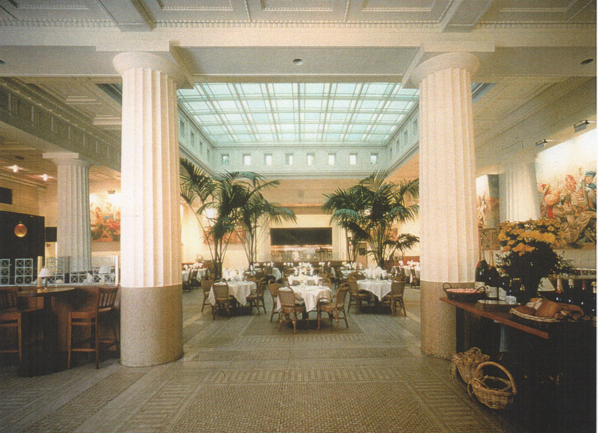 View of original bank lobby converted to a restaurant