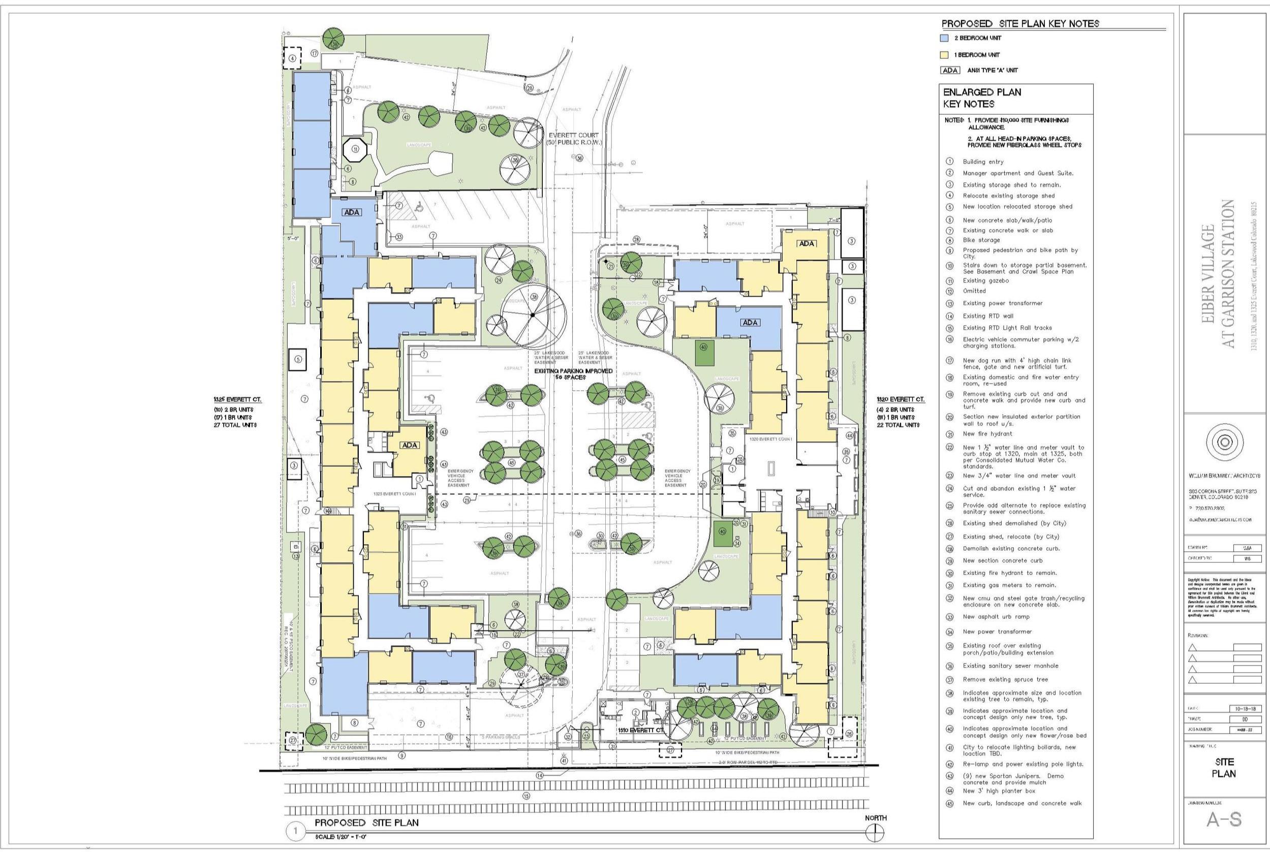 Proposed site plan for Eiber Village at Garrison Station, William Brummett Architects.