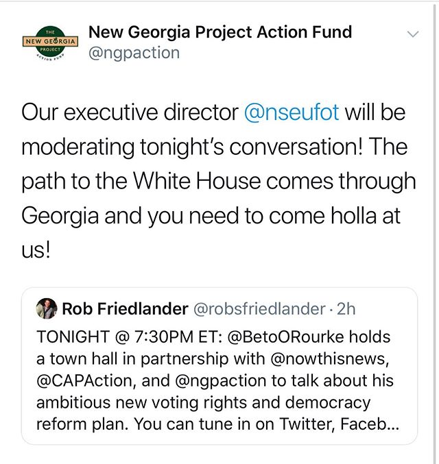 We are going live with @nowthisnews as our Executive Director Nse Ufot moderates tonight's conversation. The road to the White House comes through Georgia. Thank you to @oldladygang for providing use of the venue.