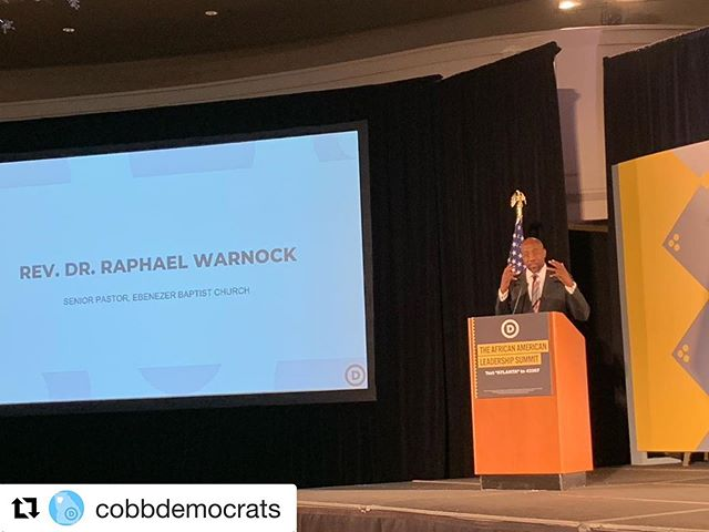 "RP @cobbdemocrats: ""Georgia is already a Blue state. We just need to stand up and act like it."" -Rev Raphael Warnock @thedemocrats  #AACLSummit"