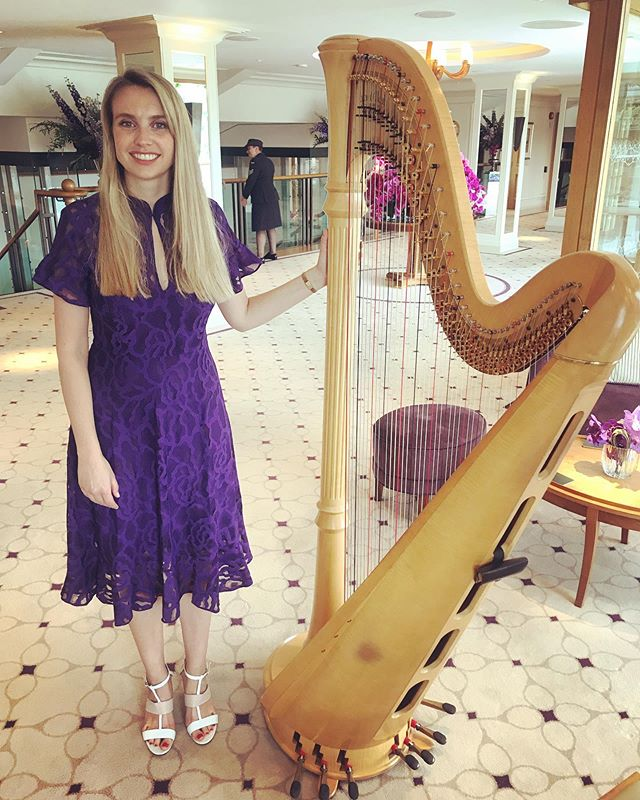 Harping on for guests of the Royal box @wimbledon 🎾 🎶 #finalsweekend #womensfinals #wimbledon2019 #halep