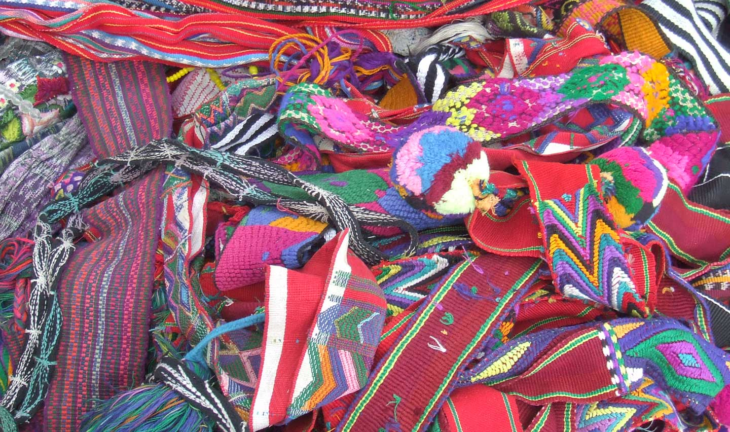 Belts, or fajas, in a Guatemalan textile market.
