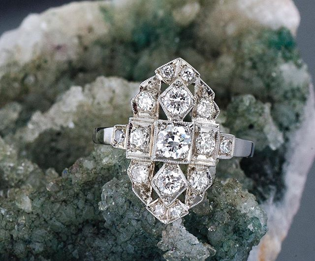 Loving our newly listed Art Deco 3/4ct diamond fashion ring! Available in store and on Etsy. DM for details.  #navette #diamondnavette #artdeco #artdecoring #antiquering #oldeuropeancut #vintagebride #antiqueengagementring #etsy #instore #carlsbadvillage #coppercanary