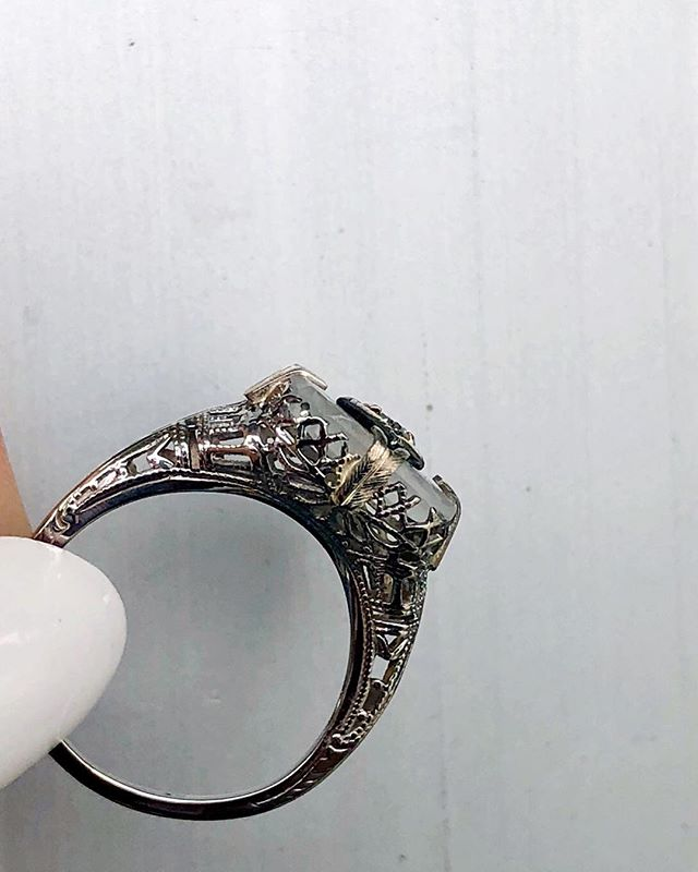 Hello #filigreefriday  Featuring our antique rock crystal quartz diamond filigree ring. Available in store.  #rockcrystal #rockcrystalquartz #filigree #1920s #camphorglass #camphorglassring #antiquering #instore #carlsbadvillage #coppercanary