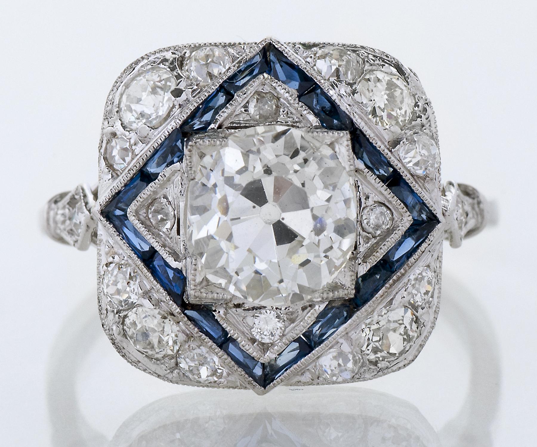 Art Deco Platinum Sapphire