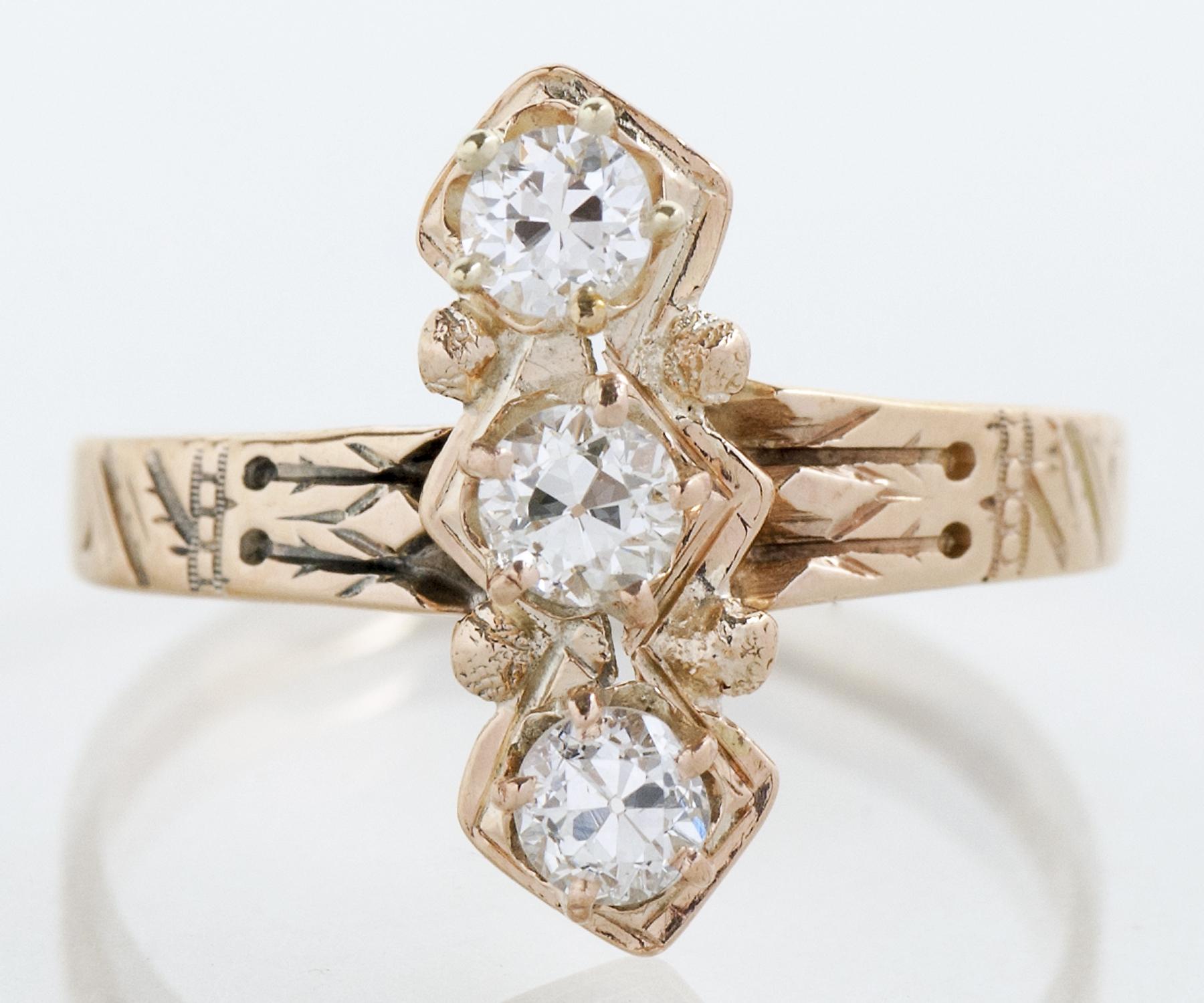Rose Gold 3-Stone Diamond