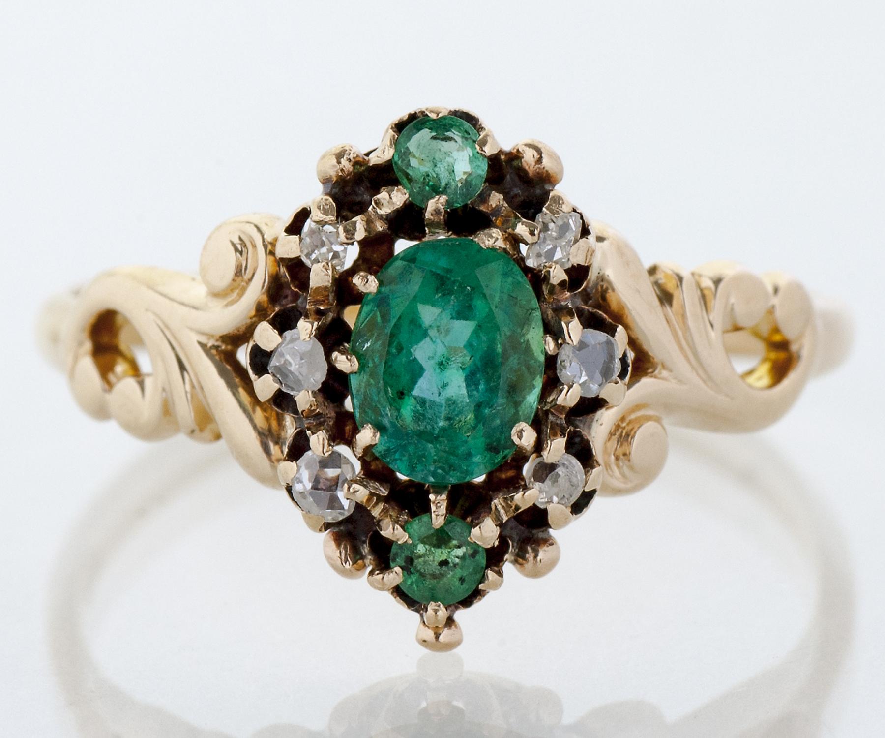 Antique Victorian Gold Emerald Diamond