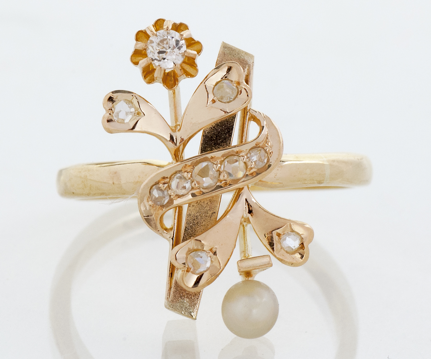 Victoria Rose Cut Diamond and Pearl