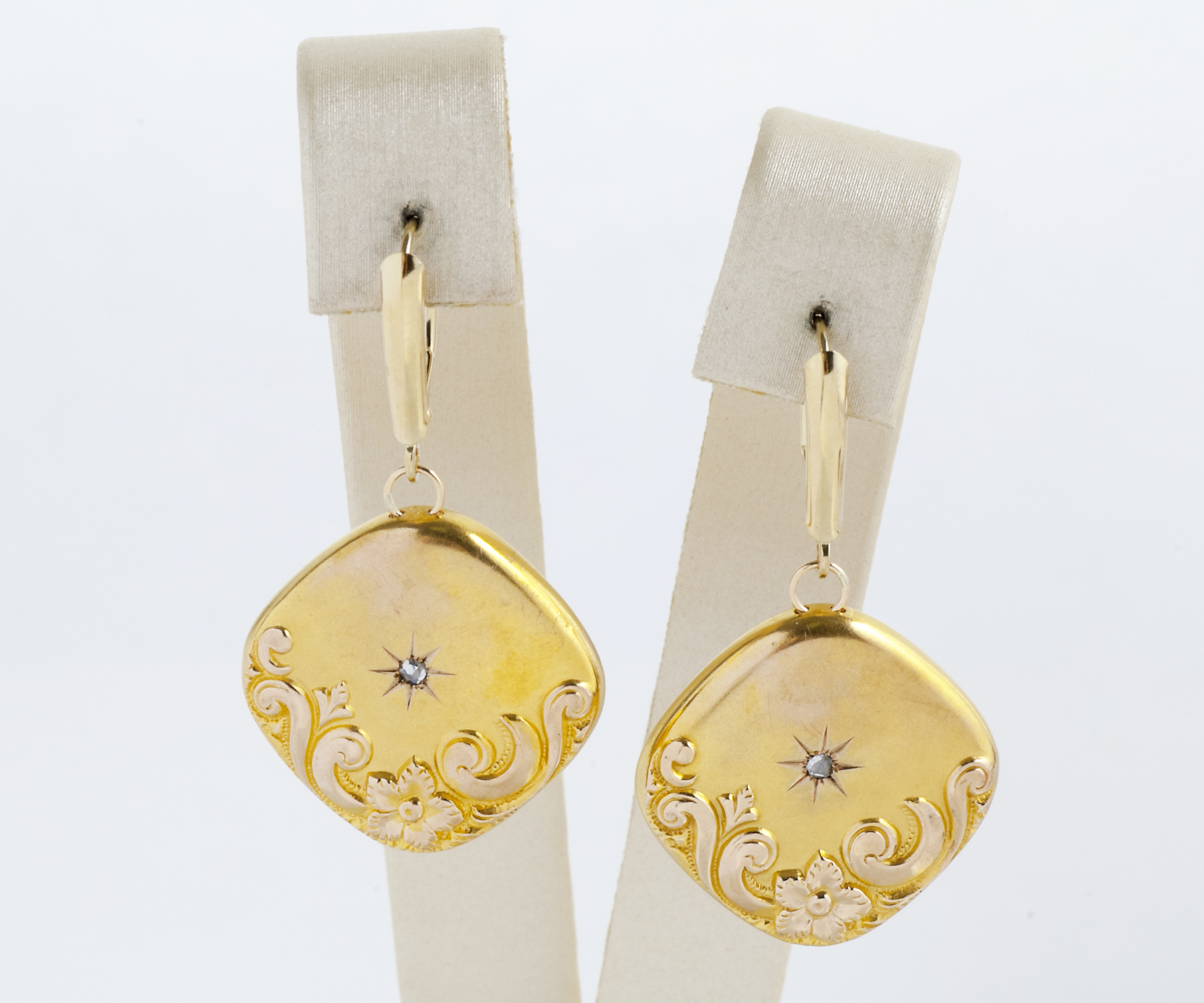 Rose Cut Diamond Conversion Earrings