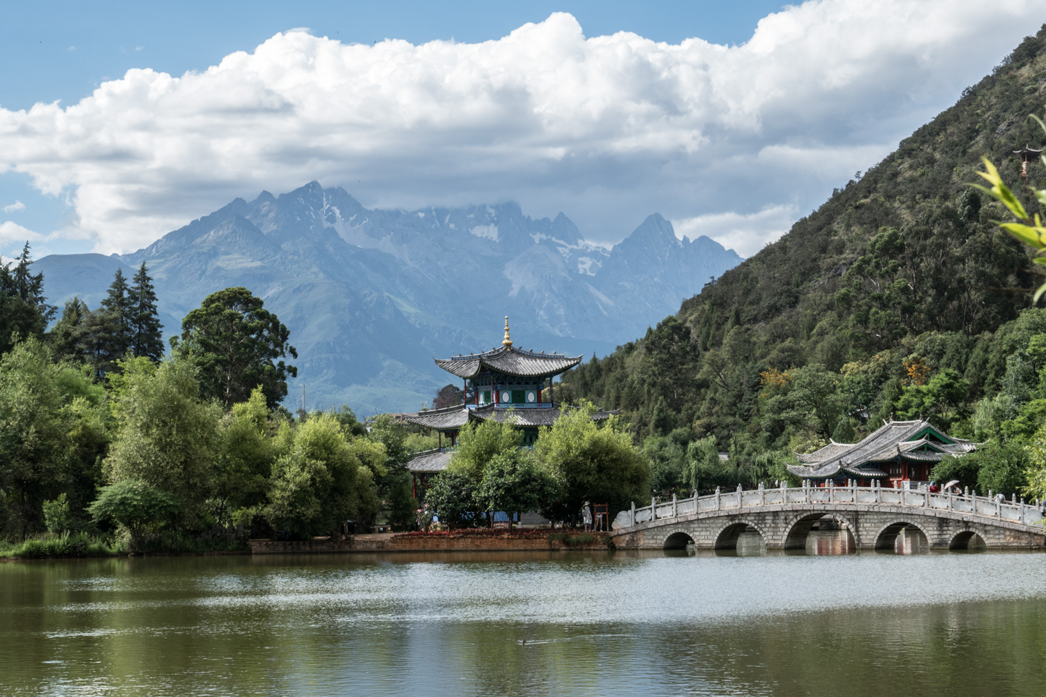 View from Jade Spring Park of Black Dragon Pool with Jade Dragon Snow Mountain in the background