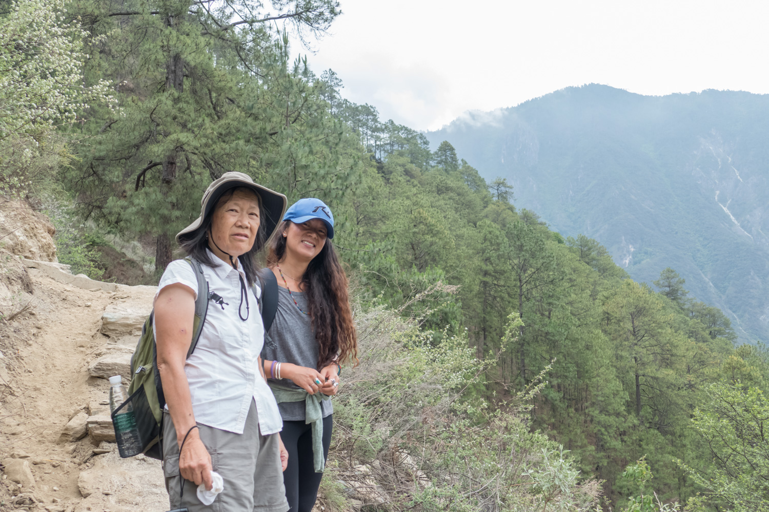 Lil with our guide Pema on the hike