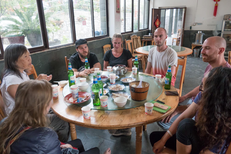 Convivial dinner at the Tea Horse Inn