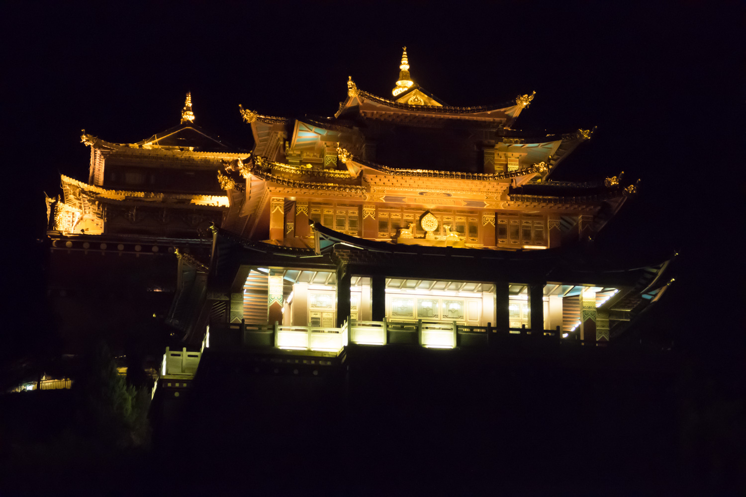 The temple in Shangri-La at night